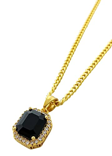 18k gold plated stainless steel mini onyx black ruby stone pendant 18k gold plated stainless steel mini onyx black ruby stone pendant necklace with 24quot aloadofball Images