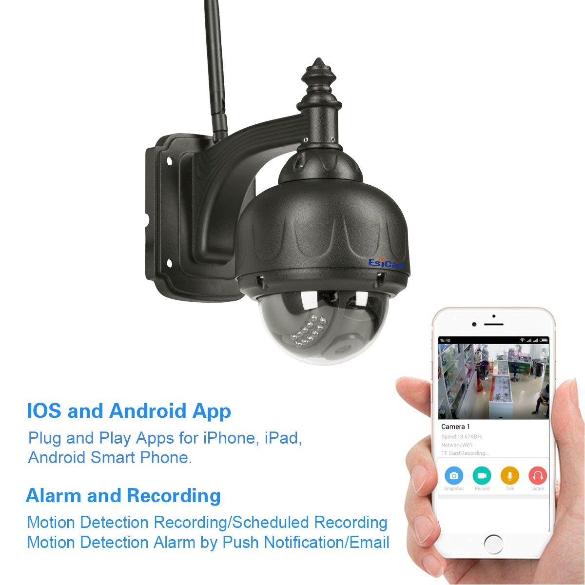 EsiCam HN11 720P Impermeable WIFI Cámara de la velocidad vigilancia de la bóveda PT al aire libre cámara IP inalámbrica con el apoyo del IOS y Android APP ...