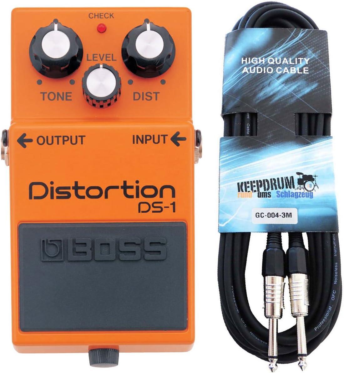 Boss DS de 1Pedal de distorsión Keepdrum Guitarra Cable 3m