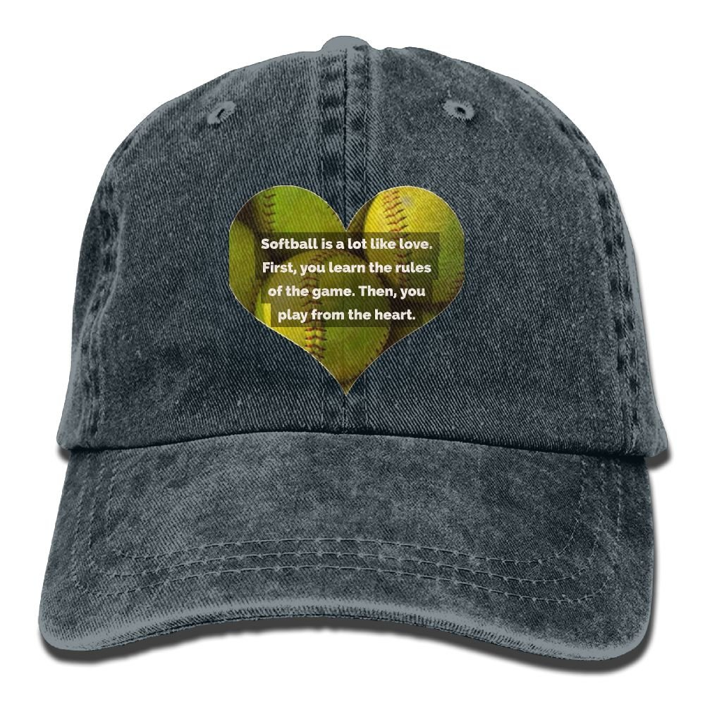 Ive Love Softball Plain Adjustable Cowboy Cap Denim Hat for Women and Men