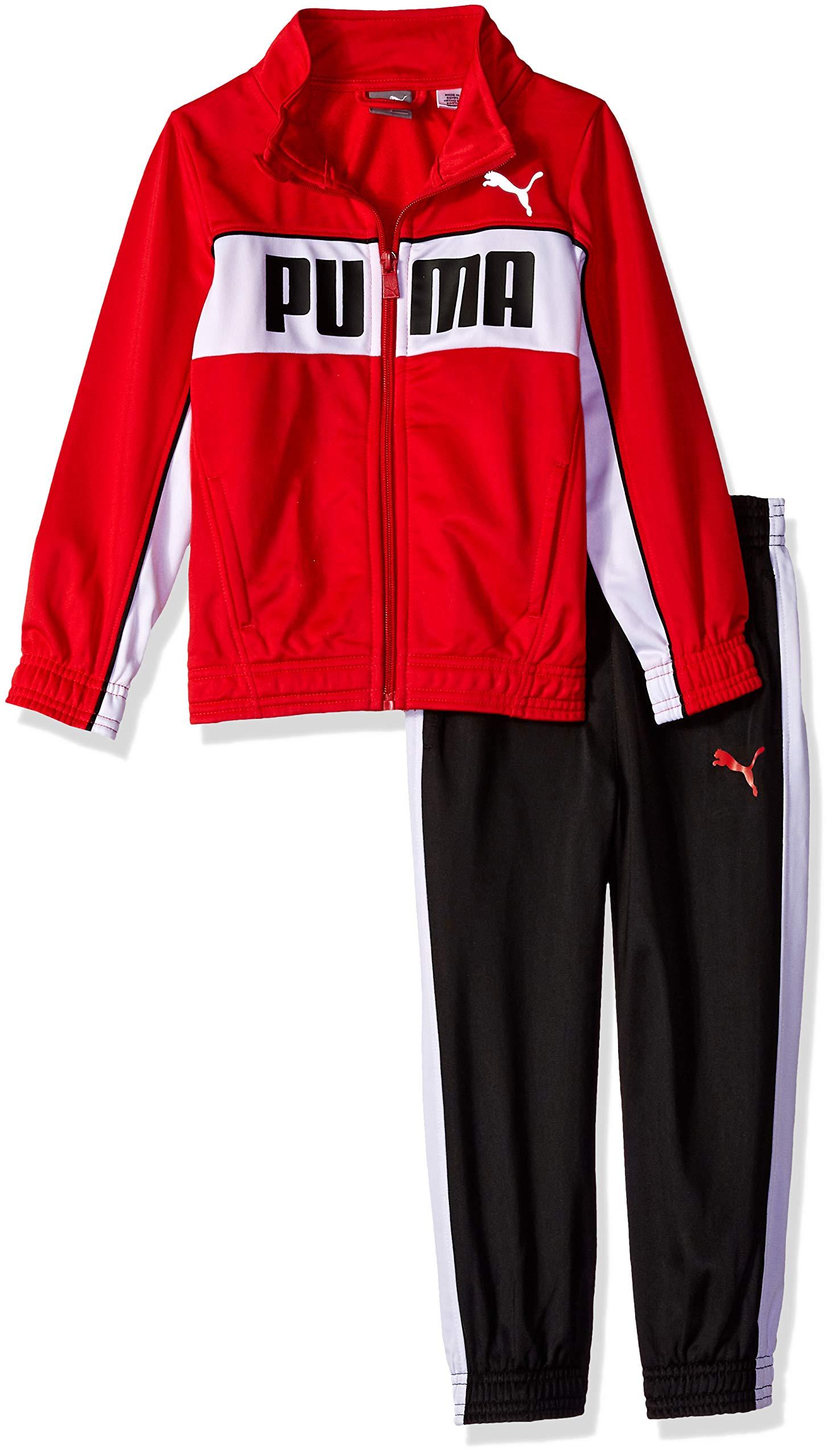 PUMA Little Boys' Tricot Pant Set, Ribbon red, 6