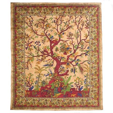 Colcha Árbol de Vida Tree of Life India Cama Colcha cama pared adornos Toalla mesa sábana