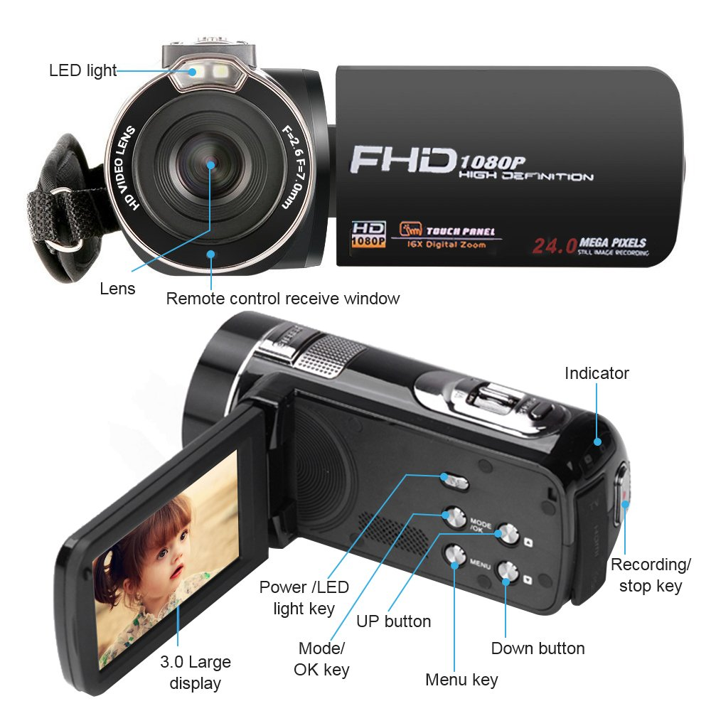 Camera Camcorder with IR Night Vision, Weton 3.0 inch LCD Touch Screen Digital Video Camera Full HD 1080p 24.0MP Pixels 18x Digital Zoom Mini DV with Remote Control (Two Batteries included) by Weton (Image #3)