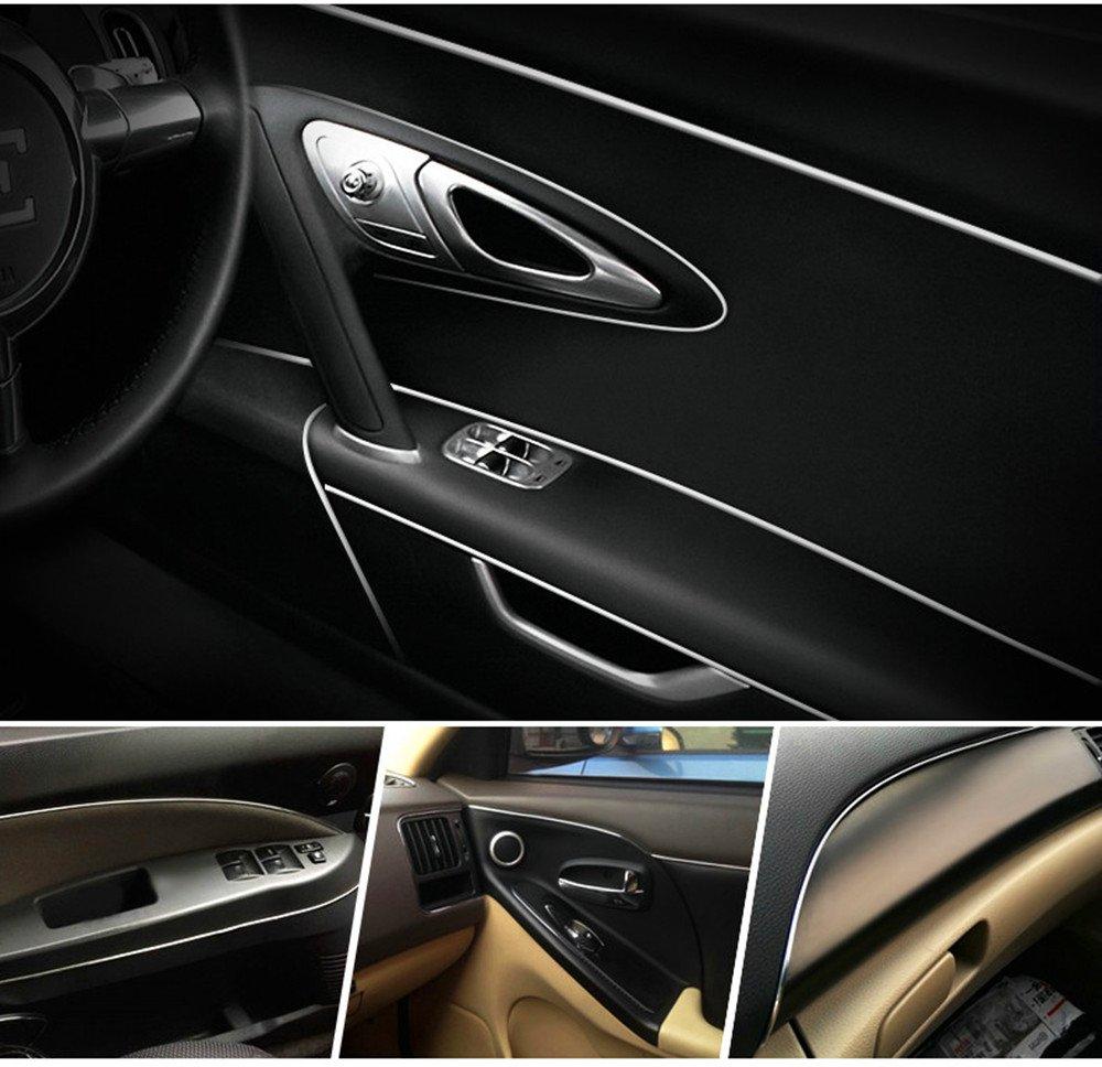 3D DIY 5 Meters Car Interior Electroplating Color Film Automobile Car Motor Interior Exterior Decoration Moulding Trim Strip line Sticker Silver