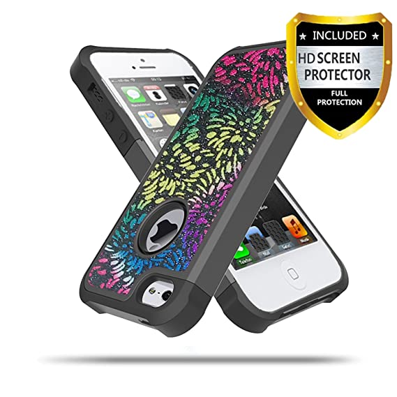 separation shoes 8b127 1dcc1 iPhone 5S Case, iPhone 5 Case,iPhone SE Case With Phone HD Screen  Protector, Ymhxcy Glitter Bling Shockproof Hybrid Hard PC Soft TPU  Protective Cover ...