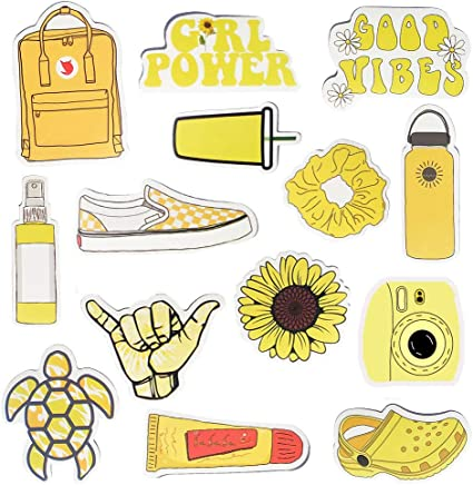 Amazon Com Water Bottle Stickers Vsco Stickers Vinyl Cute Aesthetic Waterproof Yellow Sticker Pack Vsco Girl Stuff For Teens Kids Arts Crafts Sewing
