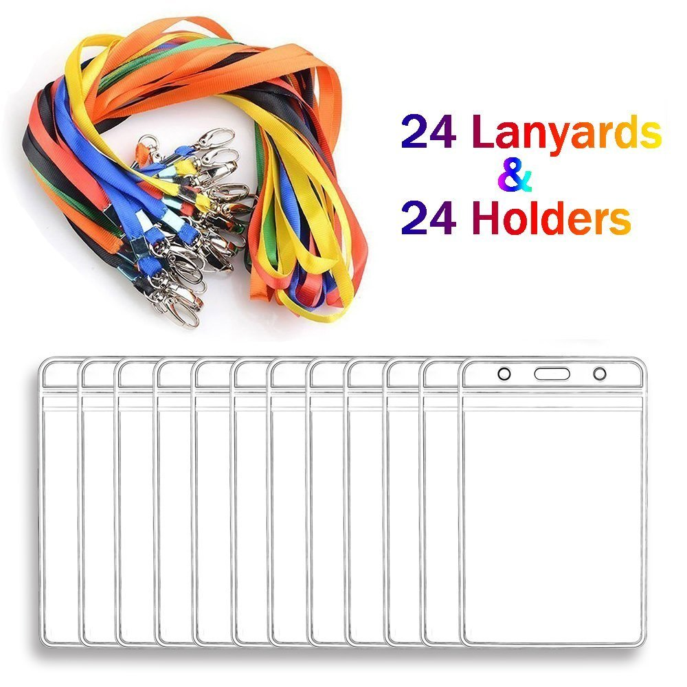 Lanyard With Id Badge Holders Vertical Name Card Mixed Wiring Labels Bulk 24 Sets For Kids And Adults Office Products