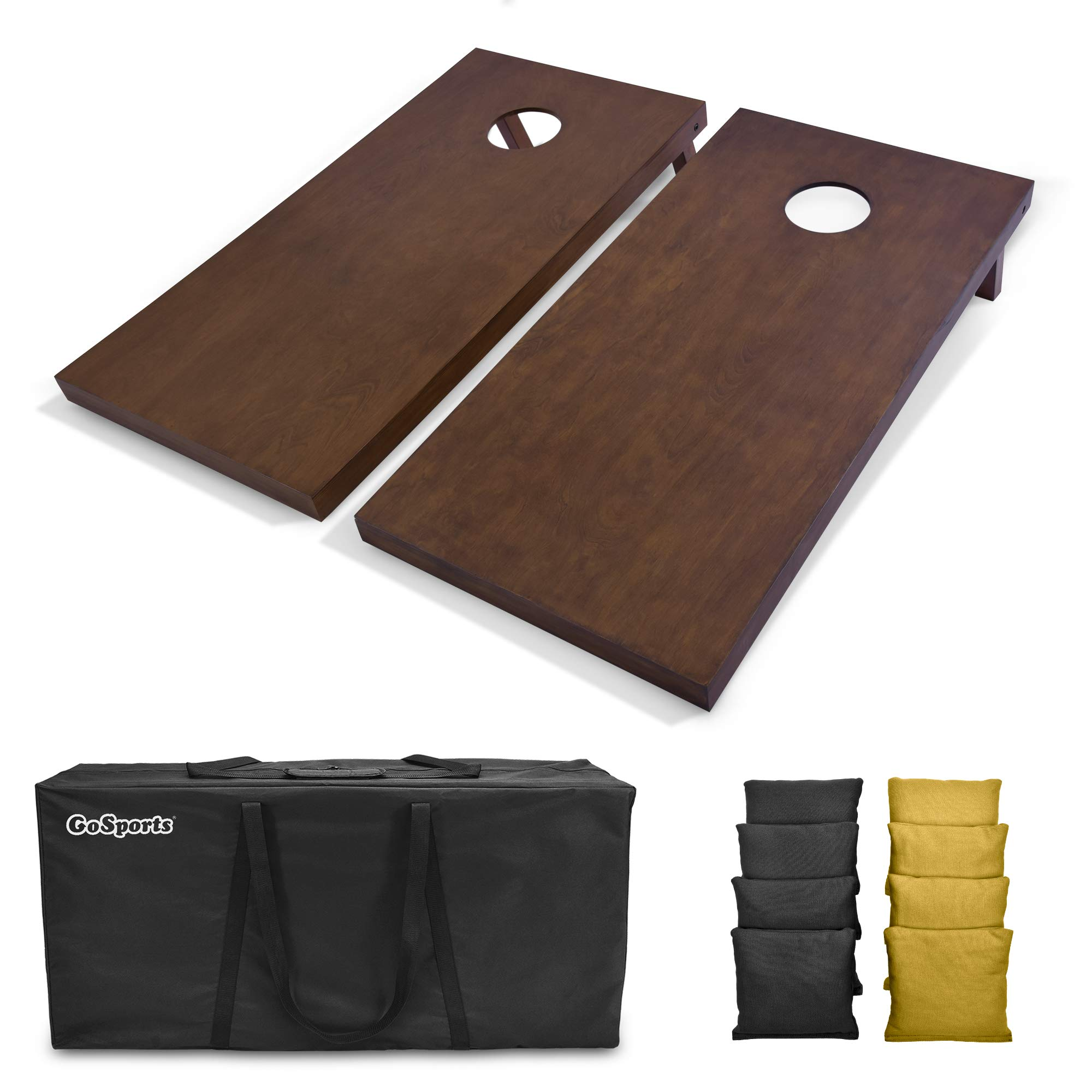 GoSports 4'x2' Regulation Size Wooden Cornhole Boards Set with Dark Brown Varnish | Includes Carrying Case and Bean Bags (Choose Your Colors) Over 100 Color Combinations