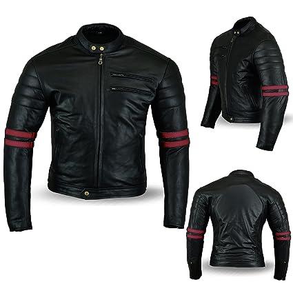 Australian Bikers Gear Chaqueta Moto Black Premium en Cuero Twinstripe Racer, Negro Envejecido y Rayas Rojas Oxblow, con Protecciones Homologadas y ...