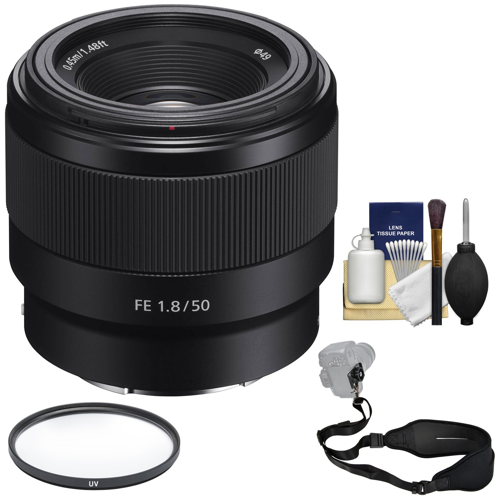 Sony Alpha E-Mount FE 50mm f/1.8 Lens with UV Filter + Sling Strap + Cleaning Kit