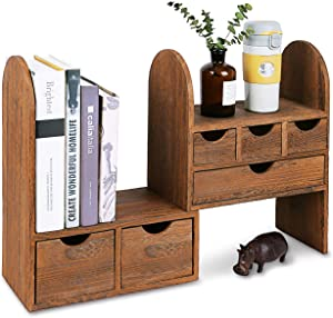 "Ikee Design Large Adjustable Wooden Desktop Organizer for Office Supplies, Book Storage Shelf Rack, Stationary Compartment Holder, 13"" W x 6 1/4"" D x 16"" H, Brown Color"