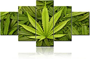 """TUMOVO 5 Piece Canvas Wall Art for Living Room- Cannabis Texture Marijuana Leaf Pile Background with Flat Vintage Style - Modern Home Decor Stretched and Framed Ready to Hang - 60"""" W x 32"""" H"""