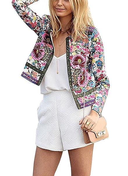 2018 Mujeres Primavera y otoño Bordado Floral Corto Chaqueta Manga Larga Moda Casual Abrigos Cárdigans Tops Blazer Sexy Jacket: Amazon.es: Ropa y accesorios