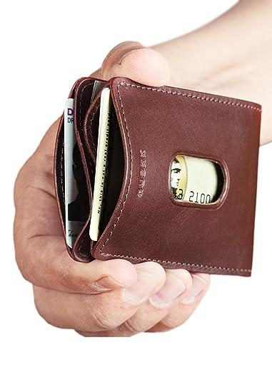 HUSKK Ultra Slim Bifold - Cartera de piel de calidad superior piel - hasta 8 Tarjetas: Amazon.es: Ropa y accesorios