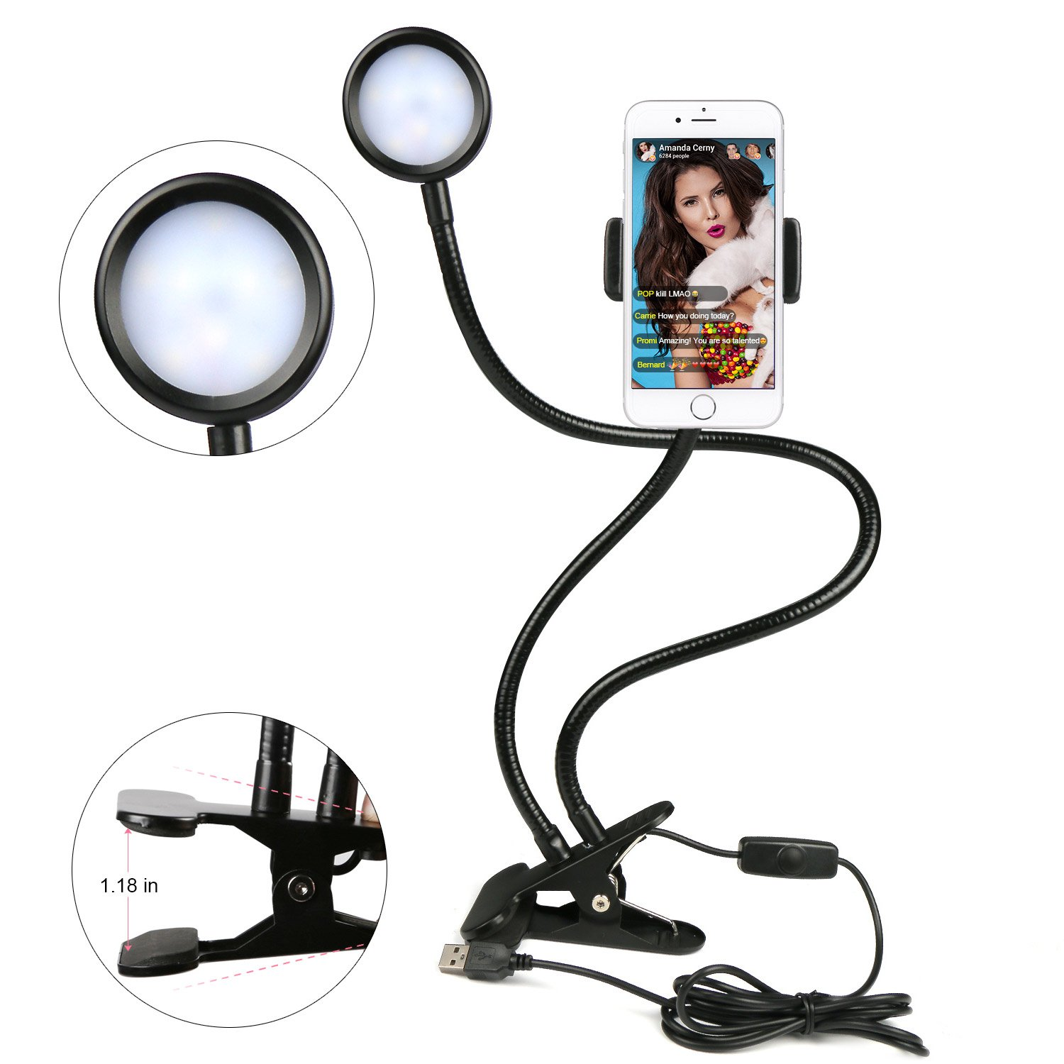 YEYIZU Selfie Ring Light Cell Phone Holder for Live Streaming