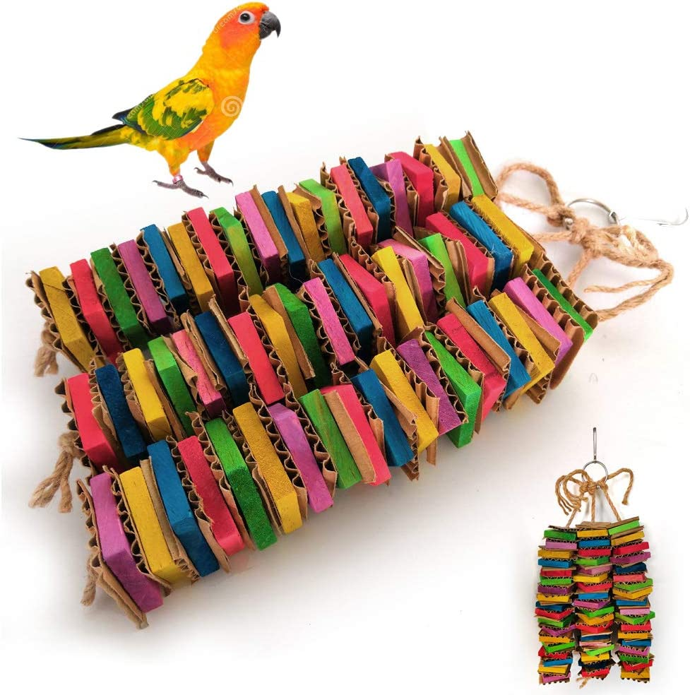 GREEN/&RARE Tastic Tower Of Shredded Fun Cardboard Color Wooden Block Bird Chew Toy for Pet Parrot Budgie Parakeet Cockatiel Conure Lovebird Finch