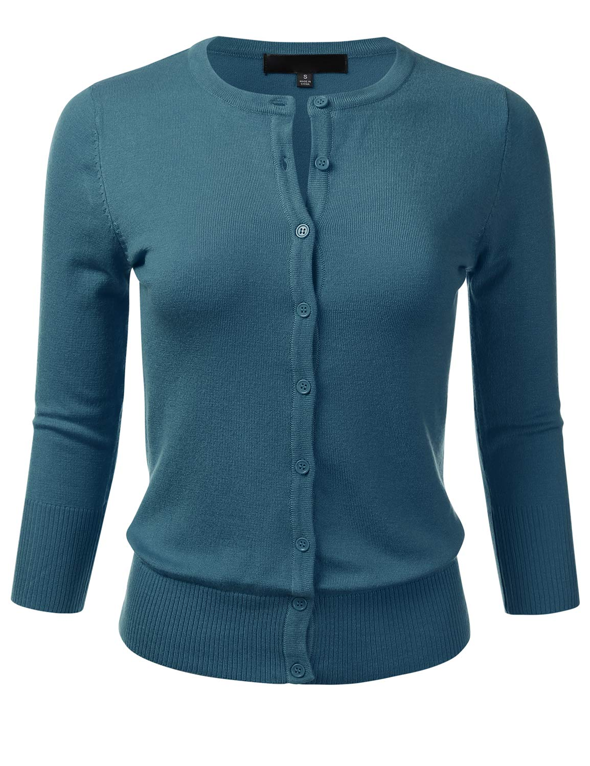 aa4a535f84 FLORIA Women s Button Down 3 4 Sleeve Crew Neck Knit Cardigan Sweater  TEALBLUE L
