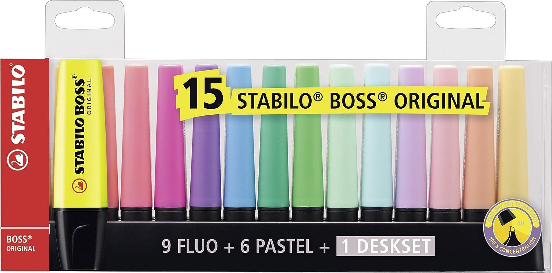 KIT SET Evidenziatore STABILO BOSS 15 Colori Pastello E Fluo Evidenziatori