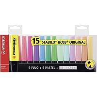 STABILO BOSS ORIGINAL - Deskset de 15 surligneurs - Couleurs fluo et pastel