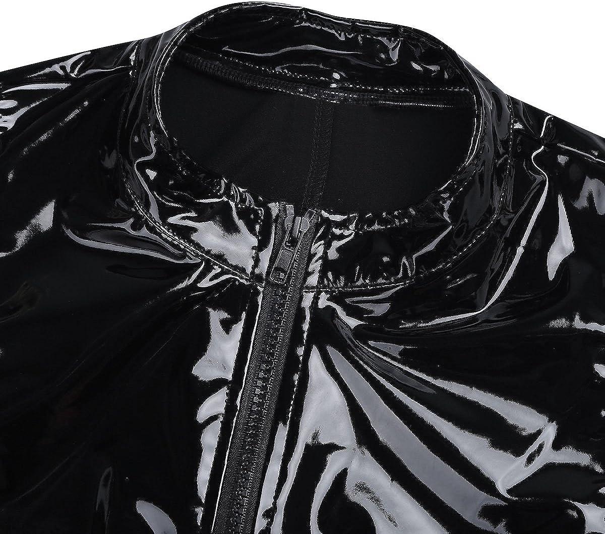 ranrann Mens One Piece PVC Leather Bodysuit Sleeveless Welook Jumpsuit High Cut Thongs Leotard