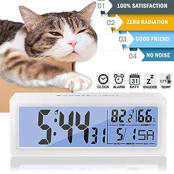 Reloj despertador grande digital con pantalla LED, portátil, funciona con pilas,