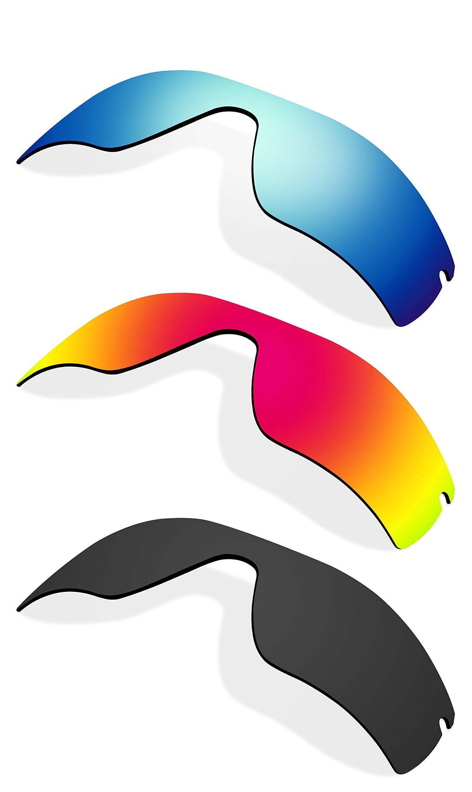 Littlebird4 3 Pairs Polarized Replacement Lenses for Oakley Radar Path Sunglasses - Multiple Options (Black-Orange-Ice Blue)