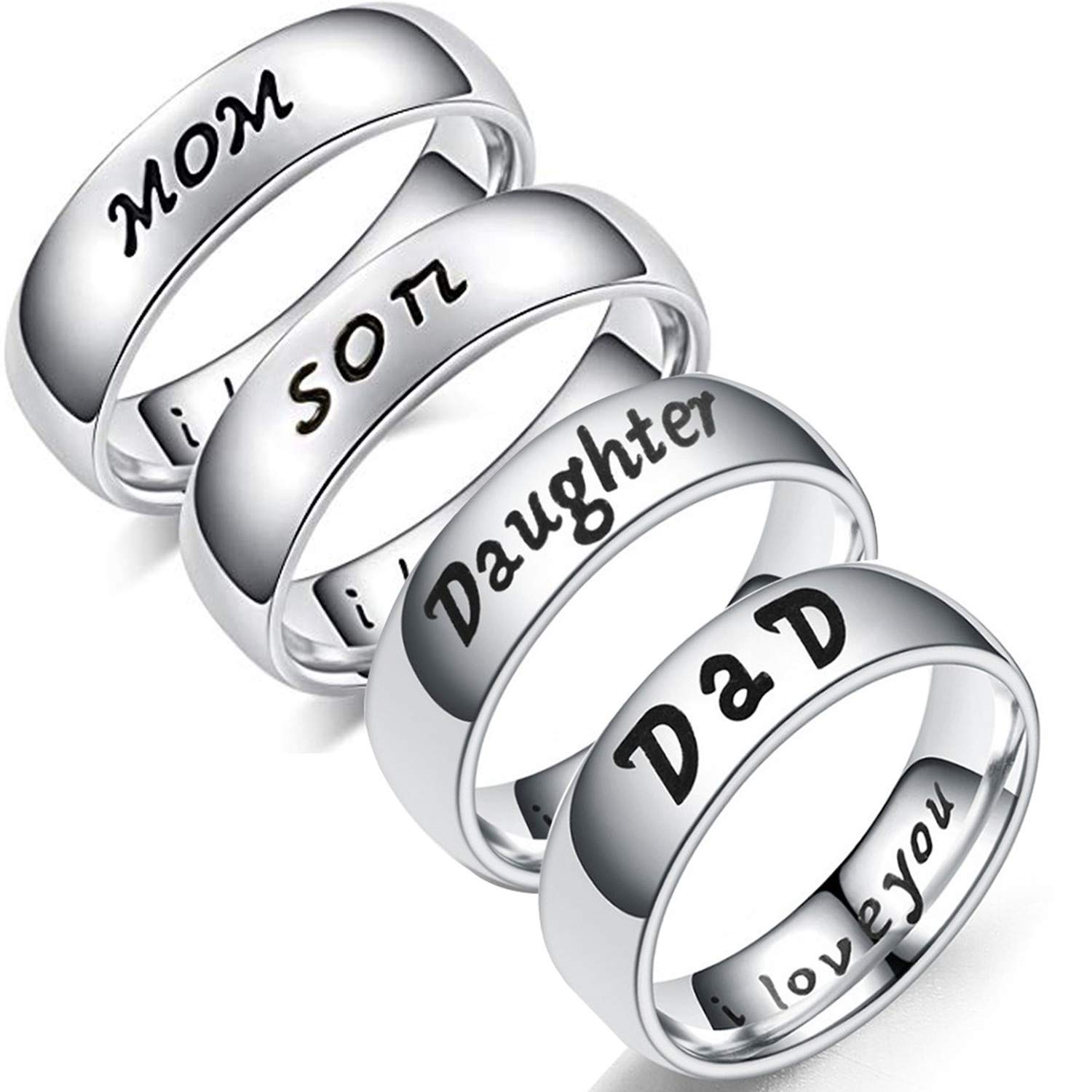 EVBEA Mens Rings Stainless Steel White Gold Plain Love Ring for Mens Couples Promise Family Mom Daughter Son Dad Gifts Jewelry in Gift Box