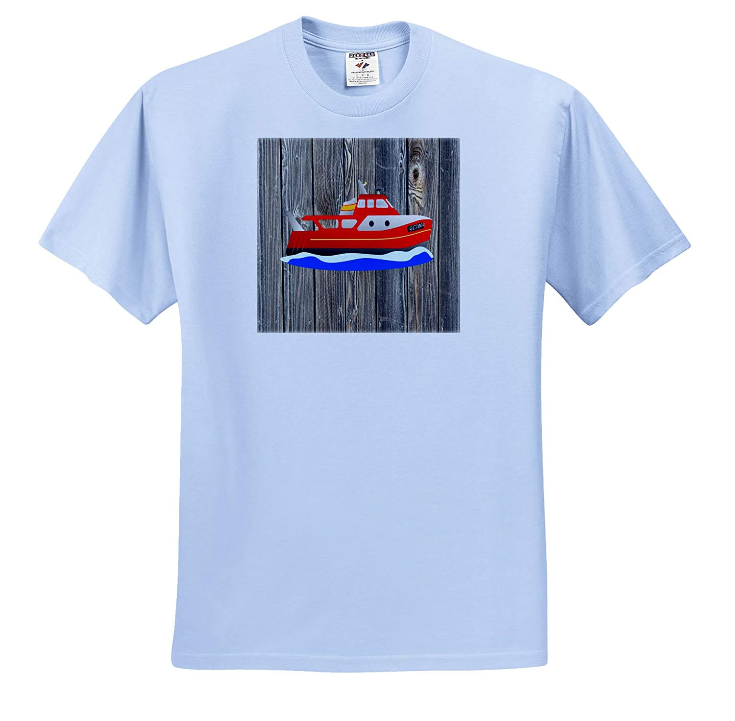 Nautical D/écor 3dRose Lens Art by Florene Image of Red Cruise Boat On Weathered Wood Adult T-Shirt XL ts/_309005