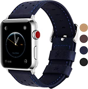 Fullmosa Compatible Apple Watch Band 42mm 44mm 40mm 38mm, Breeze Leather Band Compatible iwatch Series SE, Series 6, Series 5, Series 4, Series 3,Series 2, Series 1, 42mm 44mm Dark Blue