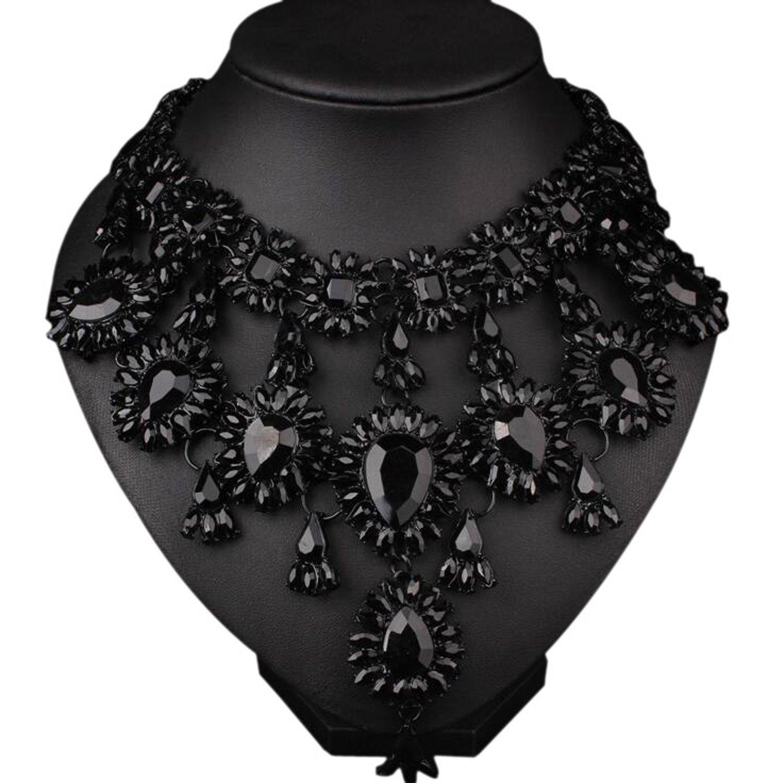 Easting Evening Party Luxury Colorful Rhinestone Crystal Chain Teardrop Shape Bib Temperament Necklace