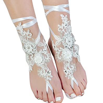Amazon lace barefoot sandals beach wedding anklet sexy lace barefoot sandalsbeach wedding ankletsexy jewelrywedding shoes with sparkle sequins junglespirit Images