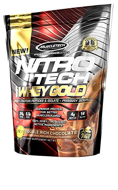 Muscletech Nitrotech Whey Gold Performance Series, 1 lbs - 454 g (Double Rich Chocolate) Whey Proteins at amazon