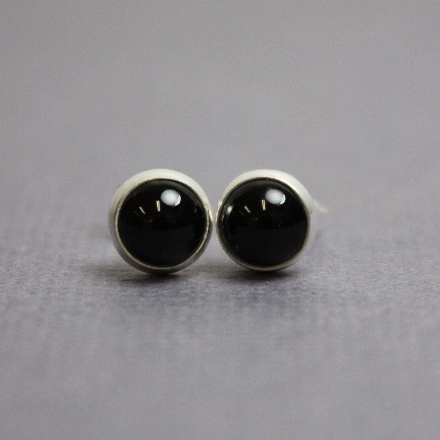 Black Onyx Stud Earrings-6mm in Sterling Silver-Handmade