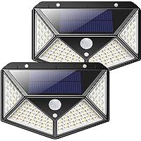 Luz Solar Exterior, Kilponen 100 LED Foco Solar Exterior Gran Ángulo 270° con Sensor de Movimiento 1800mAh Lámpara Solar…