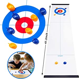 OPLIY Tabletop Curling Game,Compact Curling Family Games for Kids and Adults Compact Curling Board Game Portable Mini Tabletop Games for Family/School/Travel