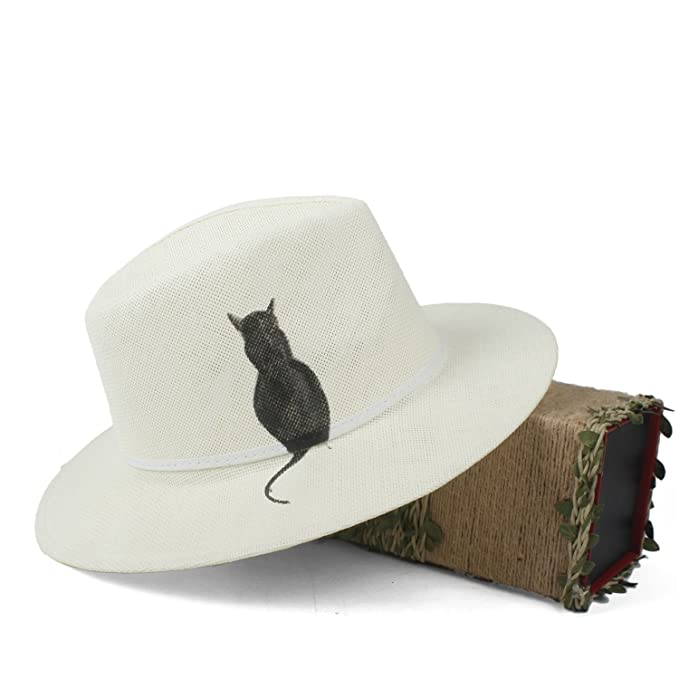 2f21810a65fb Straw Fedora Hat for Women with Hand-Drawn Cat Summer Panama Hat Sun Hat at  Amazon Women's Clothing store: