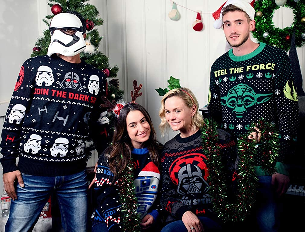 Maglione di Natale Star Wars Uomo Donna Darth Vader Merry Sithmas Sweater