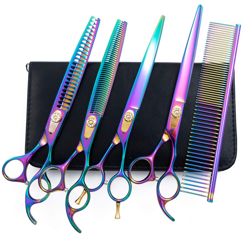 Moontay 8.0'' Dog Grooming Shears Set, 4-Pieces Straight, Curved, Thinning, Chunker Grooming Scissors for Dogs, Cats and Pets with Grooming Comb, 440C Japanese Steel, Multicolour by Moontay