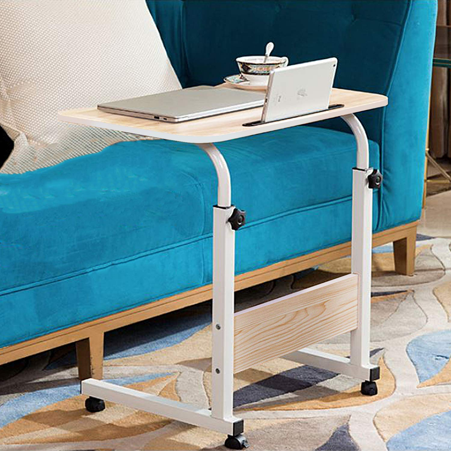 Jerry & Maggie Adjustable Height Desk Laptop Desk | Phone Holder | 4 Wheels Movable Table Lapdesk |Body Curve Edge Design Wood Desk Cart Tray Side Table for Bed - White