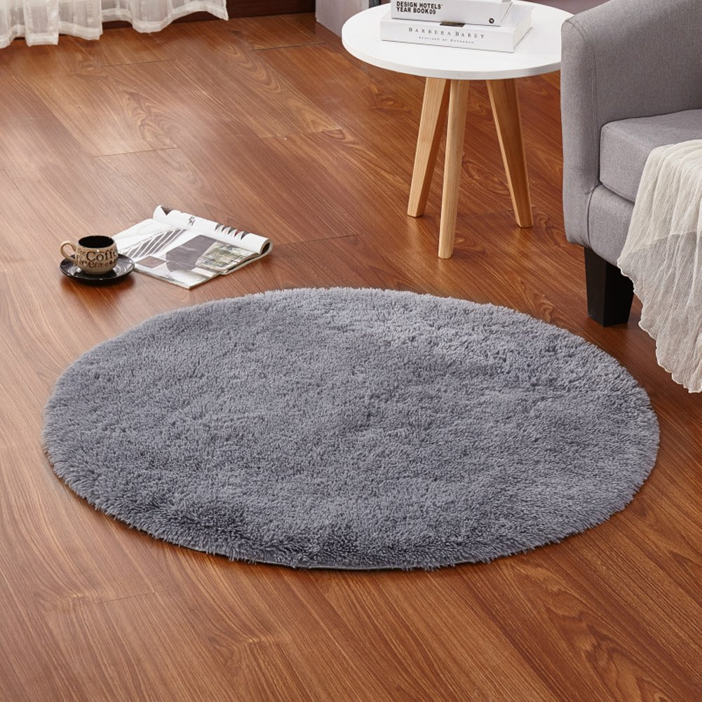 lochas 4feet round area rugs super soft living room bedroom home shag carpet gray