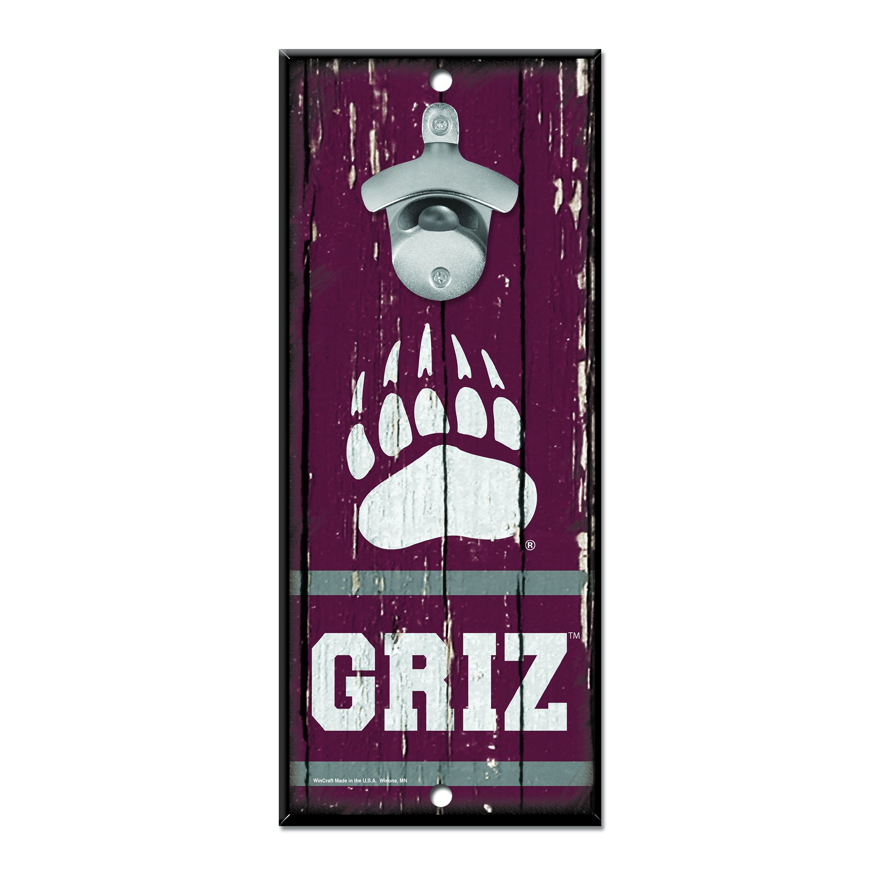 WinCraft NCAA Montana Grizzlies Wood Bottle Opener Sign, 5'' x 11'', Multicolor