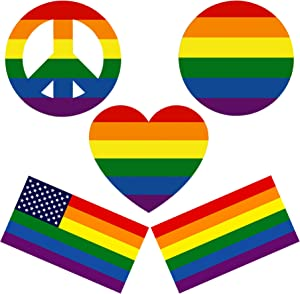 ZELIN Rainbow LGBT Gay Pride Stripes Flag Vinyl Decal/Sticker for Car, Laptops, Décor, Windows, Indoor or Outdoor Use - 5 Pack