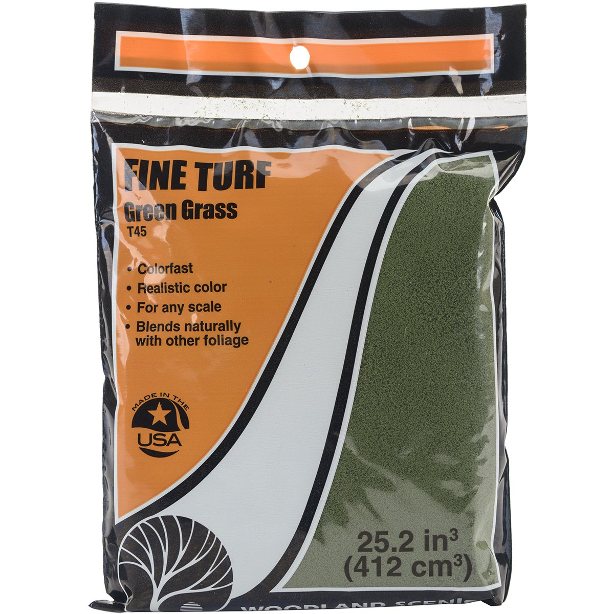 Turf 18 To 25.2 Cubic Inches-Green Grass - Fine Woodland Scenics T45 WOO45