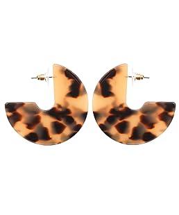 Acrylic Resin Round Hoop Earrings - Leopard Dics Bohemian Statement C-Hoop Jewelry for Women
