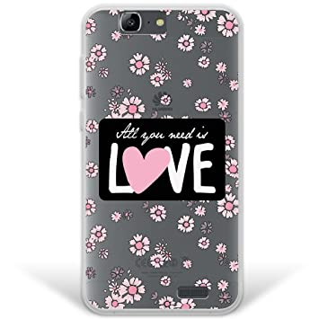 WoowCase Funda Huawei Ascend G7, [Hybrid ] Flores con Frase - All Your Need Is Love Case Carcasa [ Huawei Ascend G7 ] Rígida Fabricada en ...