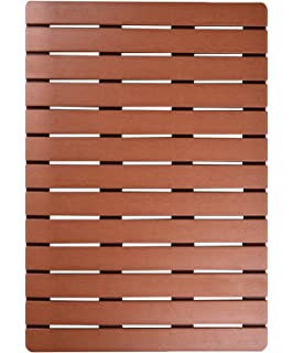 Ifrmmy Premium Large Bath Tub Shower Floor Mat Made Of PVC Wood  Non Slip  And