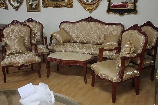 LouisXV Salon Antiguo Estilo Barroco 4 Sillón 1 sofá 1 Mesa ...