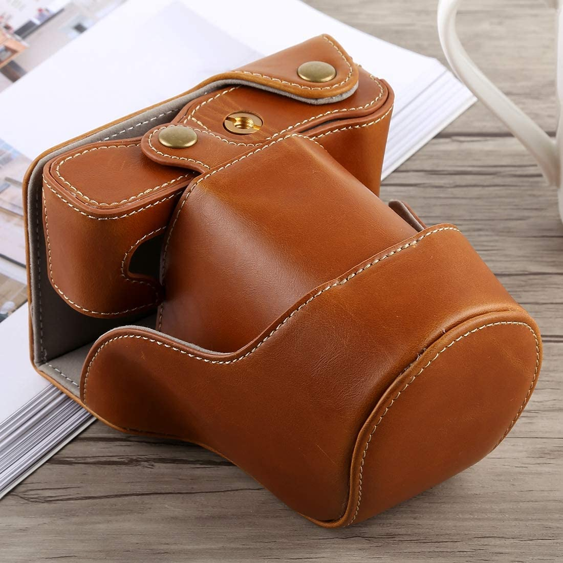 Color : Coffee Black CYcaibang Camera Bag Total Body Camera PU Leather Case Bag with Strap for Fujifilm X-A5