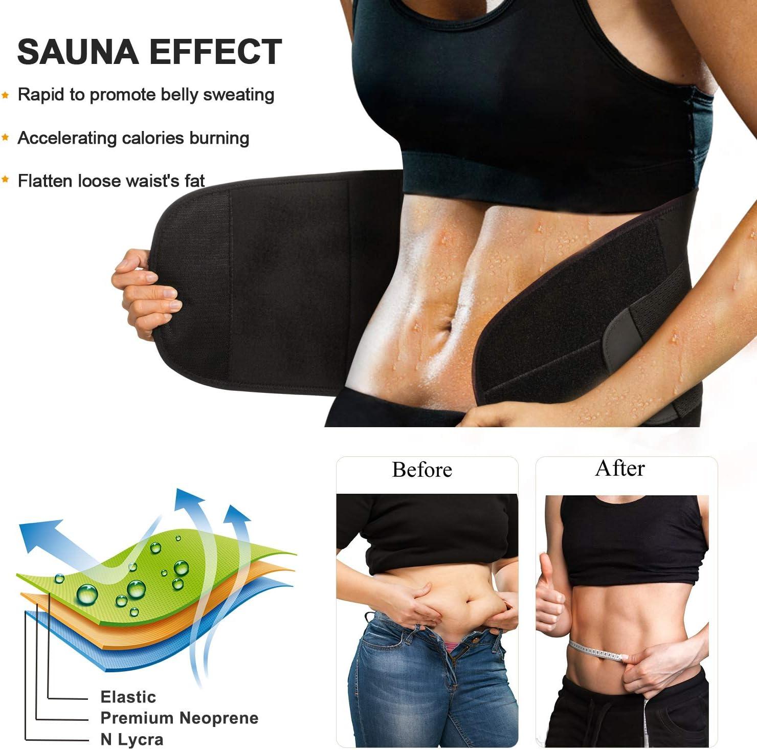 Black, M Hot Neoprene Sauna Sweat Belly Band Body Shaper for Weight Loss Back Support Hourglass Waist Trainer Trimmer Slimming Belt Waistline 29.5-32.3