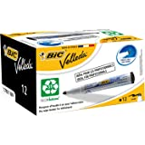 BIC Velleda 1701 Whiteboard Marker Medium Bullet Tip - Black Ink, Box of 12 Dry Erase Markers